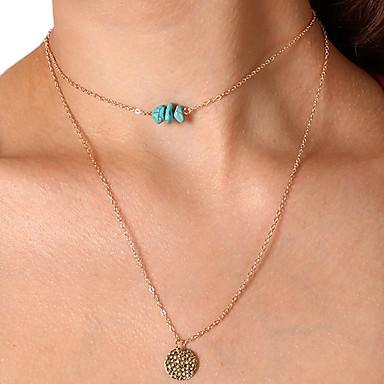 billige Mode Halskæde-Dame Turkis Kort halskæde Halskædevedhæng Vintage Guld Sølv Halskæder Smykker Til Daglig Festival
