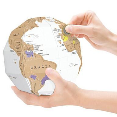 Mapas Viaje e Raspe Esfera Mapa 3D Papel