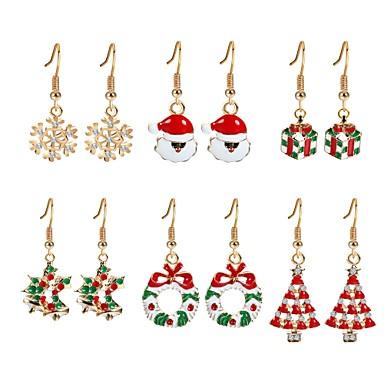 billige Damesmykker-Dame Kubisk Zirkonium Dråpeøreringer Juletre damer Zirkonium Gullbelagt øredobber Smykker Regnbue Til Jul Nyttår 6