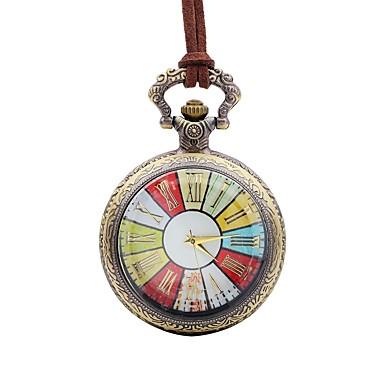 Недорогие Часы на кожаном ремешке-Муж. Карманные часы Кварцевый Кожа Коричневый Крупный циферблат Аналоговый На каждый день Цветной - Бронзовый Один год Срок службы батареи