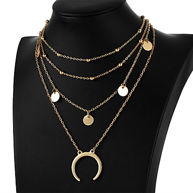 Women's Choker Necklace Pendant Layered Moon Crescent Moon double horn Ladies Simple Fashion Multi Layer Alloy Gold Silver Necklace Jewelry For Gift Daily Evening Party Prom Promise