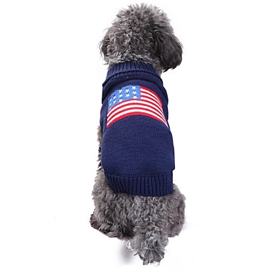 cheap Dog Clothing & Accessories-Cat Dog Costume Coat Sweater Dog Clothes Flag American / USA Blue Spandex Linen&Cotton Blend Chinlon Costume For Spring &  Fall Winter Casual / Daily Keep Warm Wedding