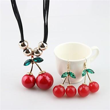 billige Damesmykker-Dame Dråpeøreringer Anheng Halskjede Kirsebær Frukt damer Søt Perle øredobber Smykker Rød Til Daglig / Øredobber
