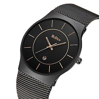 BIDEN Hombre Reloj de Pulsera Japonés Cuarzo Acero Inoxidable Negro   Dorado  30 m Resistente al 361d8c763979