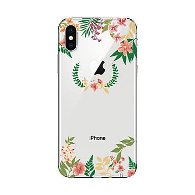 Кейс для Назначение Apple iPhone X / iPhone 8 Прозрачный / С узором Кейс на заднюю панель Цветы Мягкий ТПУ для iPhone X / iPhone 8 Pluss / iPhone 8