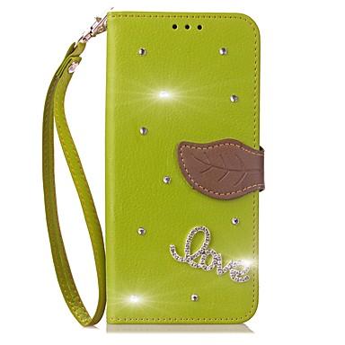 Недорогие Чехлы и кейсы для Galaxy Note 3-Кейс для Назначение SSamsung Galaxy Note 8 / Note 5 / Note 4 Кошелек / Бумажник для карт / Стразы Чехол Однотонный Твердый Кожа PU