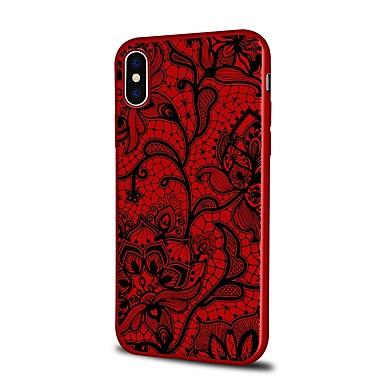 voordelige iPhone 7 hoesjes-hoesje Voor Apple iPhone X / iPhone 8 Plus / iPhone 8 Patroon Achterkant Cartoon / Lace Printing / Bloem Zacht TPU