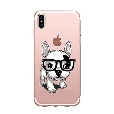 Кейс для Назначение Apple iPhone X iPhone 8 Прозрачный С узором Кейс на заднюю панель С собакой Мягкий ТПУ для iPhone X iPhone 8 Pluss