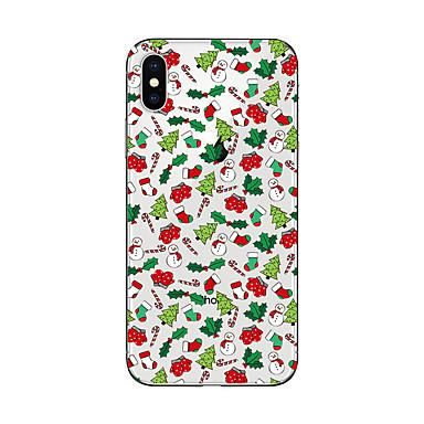voordelige iPhone 5 hoesjes-hoesje Voor iPhone 7 / iPhone 7 Plus / iPhone 6s Plus iPhone X / iPhone 8 Plus / iPhone 8 Doorzichtig / Patroon Achterkant Kerstmis Zacht TPU