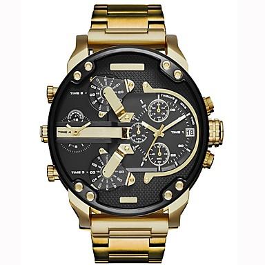 זול שעוני גברים-בגדי ריקוד גברים שעונים צבאיים שעון יד פלדת אל חלד גדול שחור לוח שנה אזור זמן כפול מגניב אנלוגי פאר קלסי וינטאג' יום יומי - כחול אפור זהב /  שחור שנתיים חיי סוללה