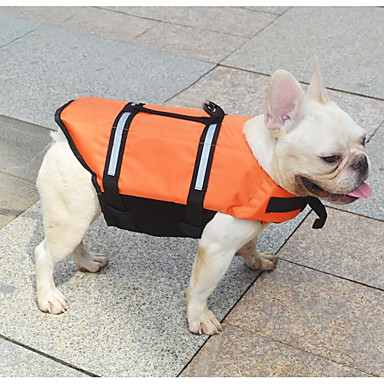 cheap Dog Clothing & Accessories-Cat Dog Life Vest Dog Clothes Solid Colored Orange Yellow Terylene Costume For Spring, Fall, Winter, Summer New Waterproof