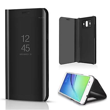 voordelige Huawei Mate hoesjes / covers-hoesje Voor Huawei Mate 10 met standaard / Beplating / Spiegel Volledig hoesje Effen Hard PU-nahka