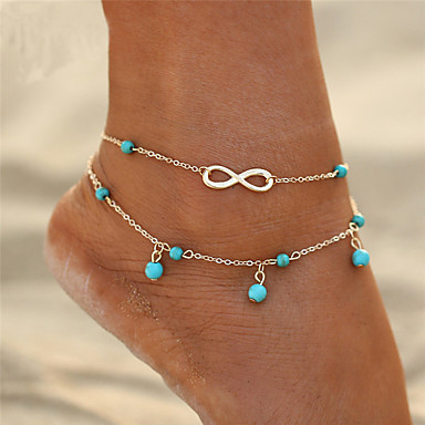 cheap Body Jewelry-Women's Turquoise Anklet feet jewelry Double Infinity Ladies Double Layered Bohemian Fashion Boho Anklet Jewelry Gold / Silver For Gift Going out Bikini