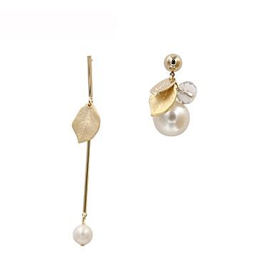 여성용 진주 불일치 드랍 귀걸이 - 펄, 도금 골드 Leaf Shape 단 골드 제품 선물 일상