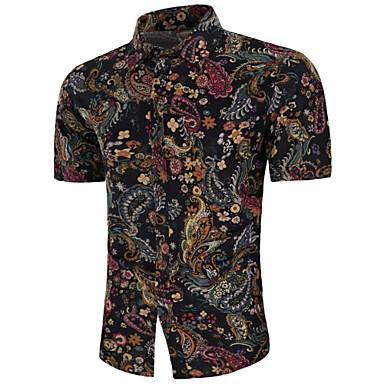 economico Abbigliamento uomo-Camicia - Taglie forti Per uomo Vintage / Boho Con stampe, Motivo cashemire / Tribale Lino Nero US38 / Manica corta / Estate