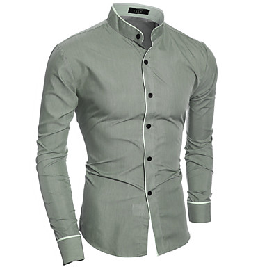 Men's Cotton Slim Shirt - Solid Colored Basic Standing Collar / Long Sleeve