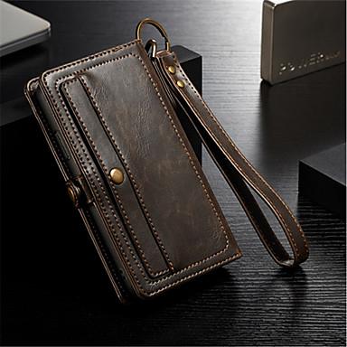 Недорогие Кейсы для iPhone-Кейс для Назначение Apple iPhone X / iPhone 8 Pluss / iPhone 8 Кошелек / Бумажник для карт / Флип Чехол Однотонный Твердый Настоящая кожа