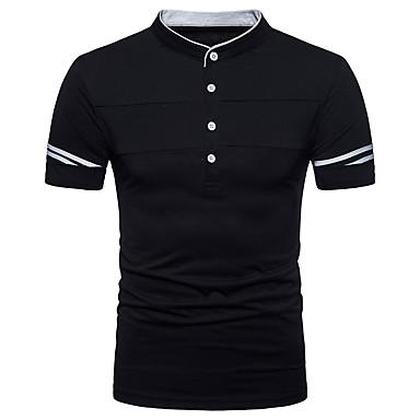 billige Herrers Mode Beklædning-Høj krave Herre Gade Polo Hvid L / Kortærmet / Forår / Sommer