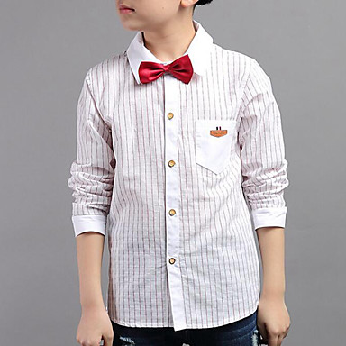 cheap Boys' Tops-Kids Boys' Casual Daily Striped Stripe Long Sleeve Regular Shirt White