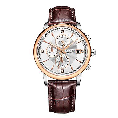 Недорогие Часы на кожаном ремешке-CADISEN Муж. Модные часы Нарядные часы Японский Кварцевый Натуральная кожа Черный / Коричневый 30 m Защита от влаги Календарь Секундомер Аналоговый Классика Мода Элегантный стиль Cool -
