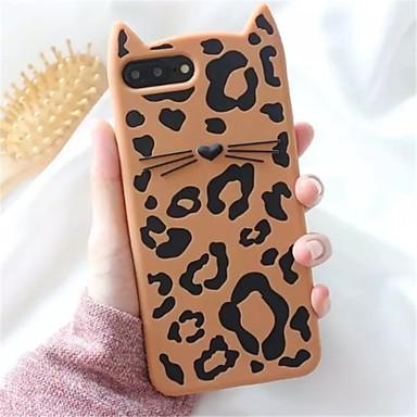 voordelige iPhone 6 hoesjes-hoesje Voor Apple iPhone X / iPhone 8 Plus / iPhone 8 Patroon Achterkant Luipaardprint / dier / 3D Cartoon Zacht Siliconen