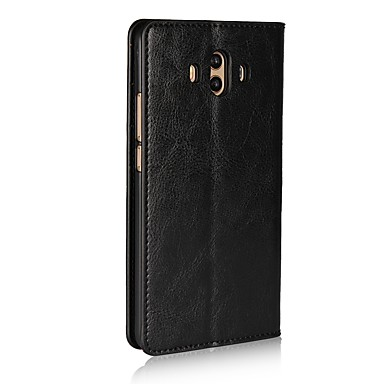 voordelige Huawei Mate hoesjes / covers-hoesje Voor Huawei Mate 10 Kaarthouder / met standaard / Flip Volledig hoesje Effen Hard aitoa nahkaa