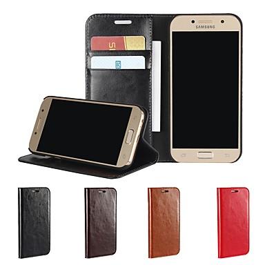 voordelige Galaxy A-serie hoesjes / covers-hoesje Voor Samsung Galaxy A3 (2017) / A5 (2017) / A8 2018 Portemonnee / Kaarthouder / Schokbestendig Volledig hoesje Effen Hard aitoa nahkaa