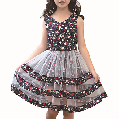 cheap Girls' Clothing-Kids Girls' Active Daily Floral Patchwork Patchwork Sleeveless Rayon Polyester Dress Blushing Pink
