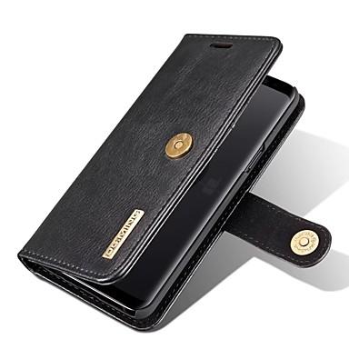 Недорогие Чехлы и кейсы для Galaxy S-Кейс для Назначение SSamsung Galaxy S9 Кошелек / Бумажник для карт / со стендом Чехол Однотонный Твердый Настоящая кожа