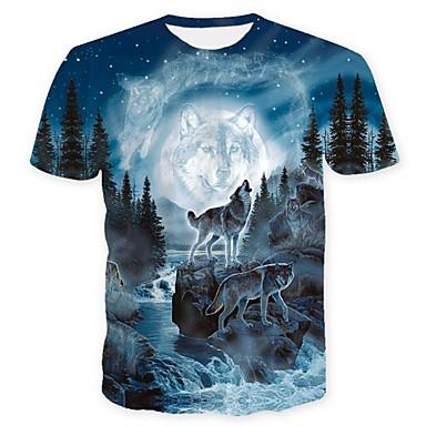 economico Abbigliamento uomo-T-shirt - Taglie forti Per uomo Serata Moda città Con stampe, Animali Rotonda Lupo Blu XL / Manica corta / Estate