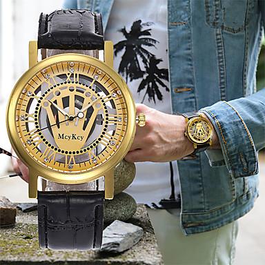 Χαμηλού Κόστους Ανδρικά ρολόγια-Ανδρικά Γυναικεία Ρολόι Φορέματος Διάφανο Ρολόι Ρολόι Καρπού Ιαπωνικά Χαλαζίας Δέρμα Μαύρο / Καφέ Χρονογράφος Εσωτερικού Μηχανισμού Δημιουργικό Αναλογικό Πολυτέλεια Κλασσικό -  / Ενας χρόνος