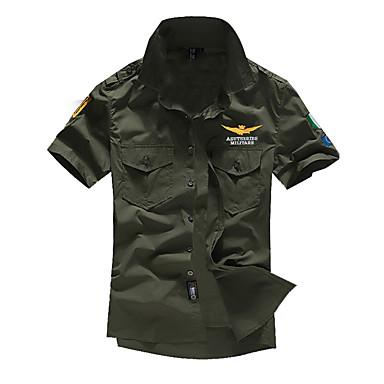 economico Abbigliamento uomo-Camicia Per uomo Militare Basic, Tinta unita Colletto classico Bianco XXL / Manica corta / Estate / Taglia piccola