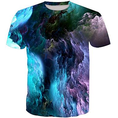 billige Herrers Mode Beklædning-Rund hals Herre - Farveblok Basale T-shirt Regnbue XL / Kortærmet