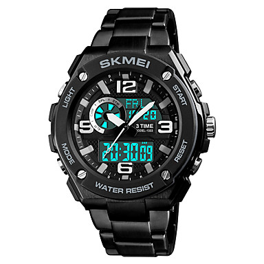 Недорогие Часы на металлическом ремешке-SKMEI Муж. Спортивные часы электронные часы Японский Цифровой Нержавеющая сталь Черный 50 m Защита от влаги Будильник Секундомер Аналого-цифровые На каждый день Мода - Черный Красный Синий / Один год
