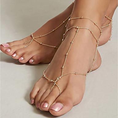 billige Kropssmykker-Dame Barfodssandaler fødder smykker Damer Vintage Ankel Smykker Guld Til Daglig Ferie Cosplay Kostumer