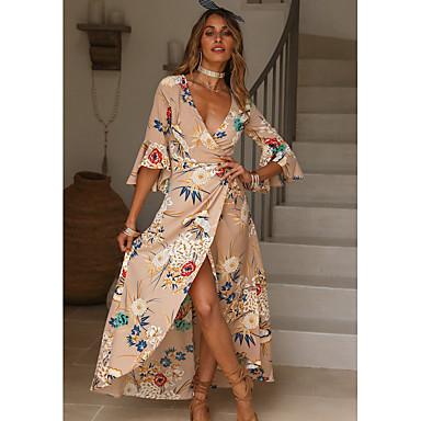 cheap Midi Dresses-Women's Floral Plus Size Daily Street chic Maxi Skater Wrap Dress - Floral Print V Neck Summer Red Light Green Khaki XL XXL XXXL