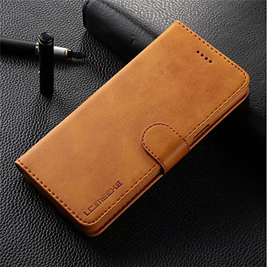 Case For Samsung Galaxy S9 Plus / S9 Wallet / Card Holder / Flip Full Body Cases Solid Colored Hard Genuine Leather for S9 / S9 Plus / S8 Plus