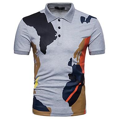 billige Herrers Mode Beklædning-Krave Herre - Farveblok Bomuld Basale Polo Hvid L / Kortærmet / Sommer