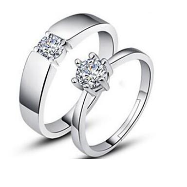 billiga Ringar-Par Kubisk Zirkoniumoxid Patiens Parringar Försilvrad  Snöflinga damer Klassisk Mode Moderingar Smycken Silver 91aeb5b414359