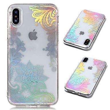 voordelige iPhone 5 hoesjes-hoesje Voor Apple iPhone X / iPhone 8 Plus / iPhone 8 Beplating / Transparant / Patroon Achterkant Cartoon / Lace Printing / Bloem Zacht TPU