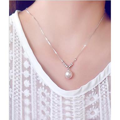 preiswerte Halsketten-Damen Perlen Süßwasserperle Pendant Halskette damas Modisch Perlen Edelstahl S925 Sterling Silber Weiß 45 cm Modische Halsketten Schmuck Für Geschenk Alltag