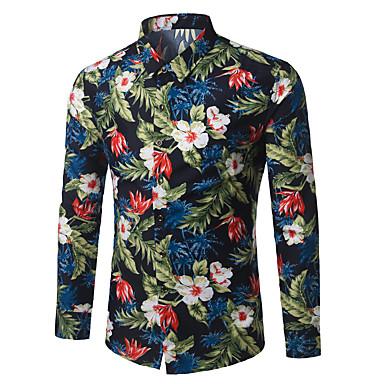 billige Herrers Mode Beklædning-Herre - Blomstret Bomuld Forretning / Boheme Arbejde Plusstørrelser Skjorte Army Grøn XXXXL / Langærmet
