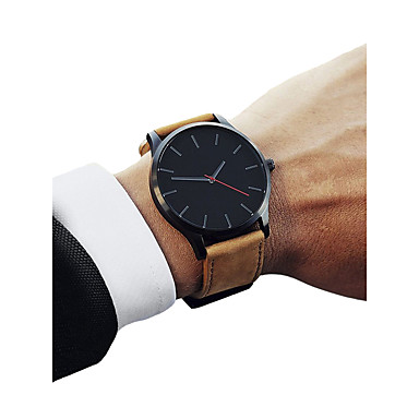 זול שעוני גברים-בגדי ריקוד גברים שעוני ספורט קווארץ דמוי עור מרופד שחור / חום כרונוגרף שעונים יום יומיים מגניב אנלוגי וינטאג' מינימליסטי - חום שחור / לבן לבן / Beige שנה אחת חיי סוללה / צג גדול / SSUO LR626