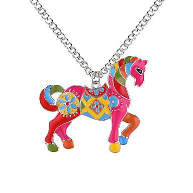 economico Collana-Collane con ciondolo Cavallo Unicorno Con animale Donne Europeo Di tendenza Oro Argento 62 cm Collana Gioielli Per Quotidiano