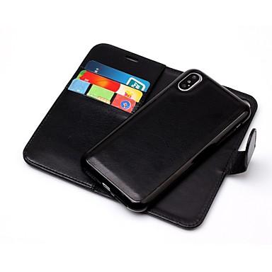 Недорогие Кейсы для iPhone-Кейс для Назначение Apple iPhone X / iPhone 8 Pluss / iPhone 8 Кошелек / Бумажник для карт / Флип Чехол Однотонный Твердый Кожа PU
