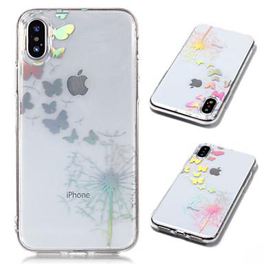 voordelige iPhone 5 hoesjes-hoesje Voor Apple iPhone X / iPhone 8 Plus / iPhone 8 Beplating / Transparant / Patroon Achterkant Vlinder / Paardebloem Zacht TPU