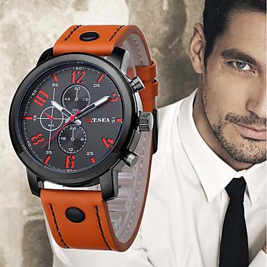 זול שעוני גברים-בגדי ריקוד גברים שעון יד שעון תעופה קווארץ עור שחור / כחול / תפוז 30 m מגניב אנלוגי יום יומי אופנתי - כתום חום כחול שנה אחת חיי סוללה / מתכת אל חלד / SSUO 377