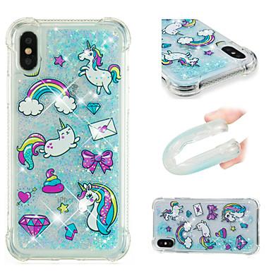 Per Resistente cascata Fantasia iPhone 06689640 Per iPhone Plus Apple Liquido Glitterato Custodia 8 disegno retro a X Unicorno agli urti qxZRw70