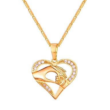 olcso Divat ékszerek-Kocka cirkónia apró gyémánt Nyaklánc medálok Anya lány Szív Üreges szív hölgyek Divat Réz Arany Ezüst Vörös arany 55 cm Nyakláncok Ékszerek Kompatibilitás Napi