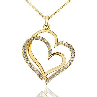 여성용 모조 큐빅 작은 다이아몬드 어머니 딸 팬던트 목걸이 도금 골드 하트 숙녀 패션 Heart 골드 화이트 로즈 골드 45+5 cm 목걸이 보석류 1 개 제품 선물 일상